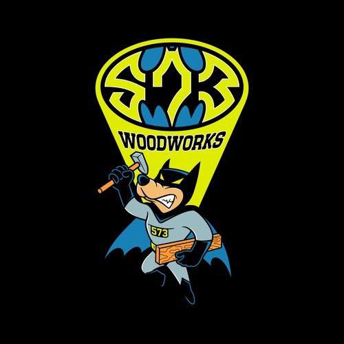Cartoon hero logo design for 573 WOODWORKS