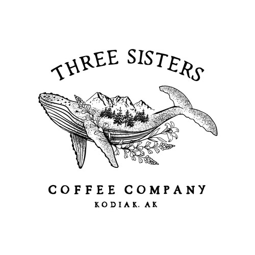 An illustration that represents Kodiak, Alaska for a coffee shop sister company