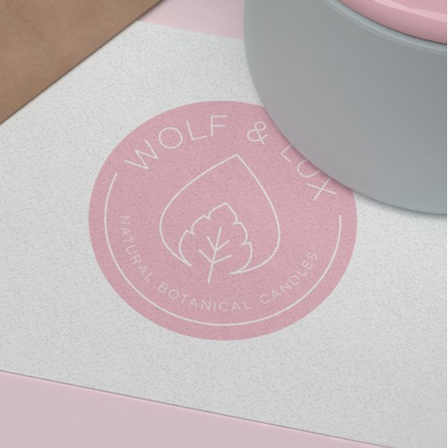 Instagram-worthy feminine logo for Wolf & Lux candle and skincare brand.