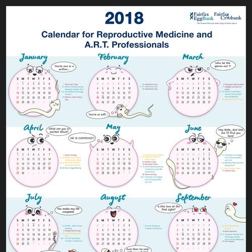 Calendar with sperm and egg artwork