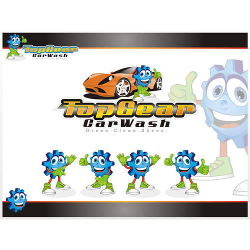 logo and business card for Top Gear Car Wash