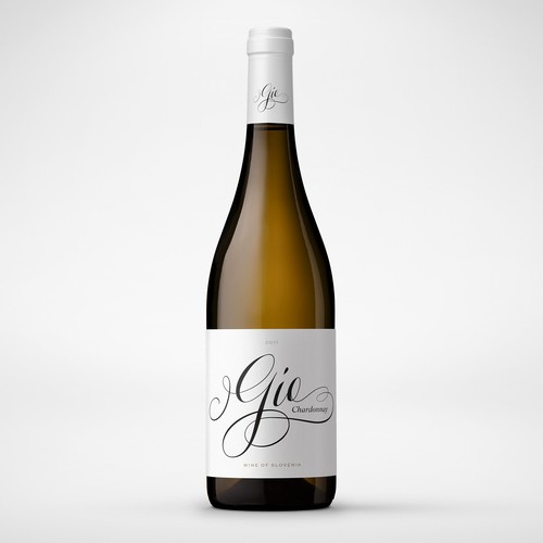 Elegant script lettering for Slovenain wine label