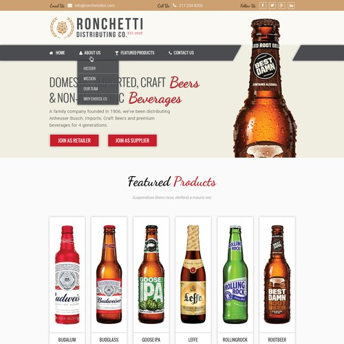 Website for Beverage Distribution Company
