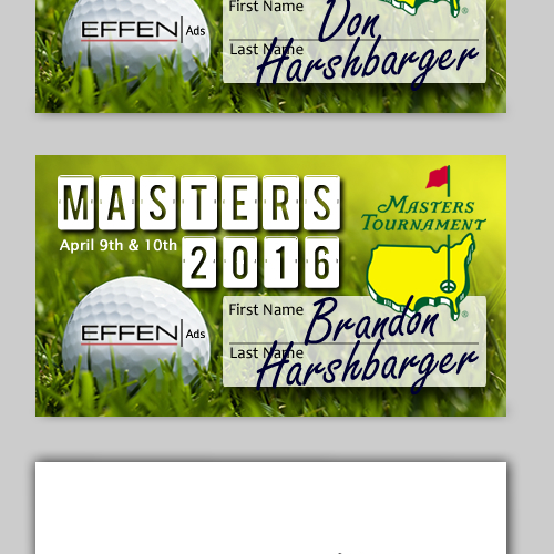 Golf card design