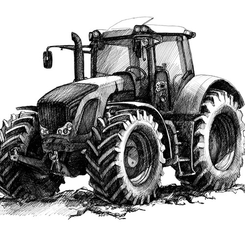 Tractor. Hand drawn sketch
