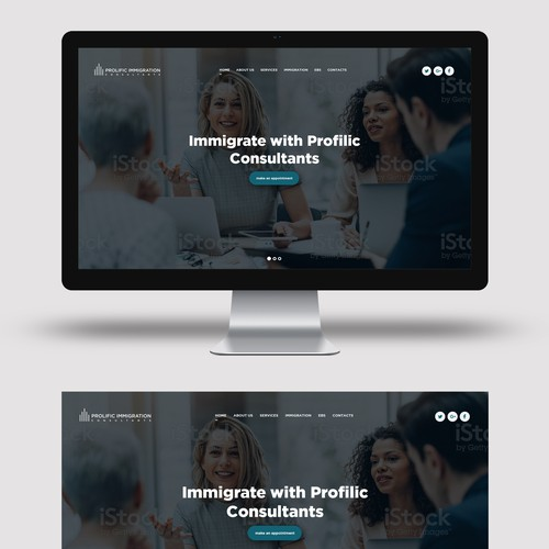 Landing page for Immigration company