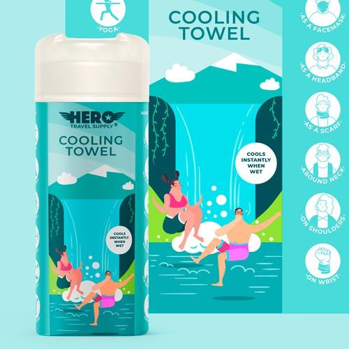 Design a label for a Cooling Towel bottle