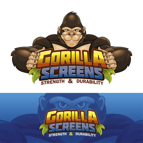 Gorilla Screens logo - mascot