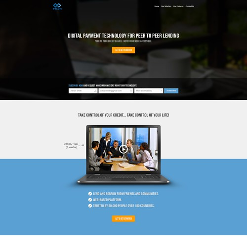 Landing page design for fast and easy peer to peer lending technology