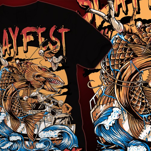 Cool T-Shirt Design: Slayfest 2014 - Fish Will Die