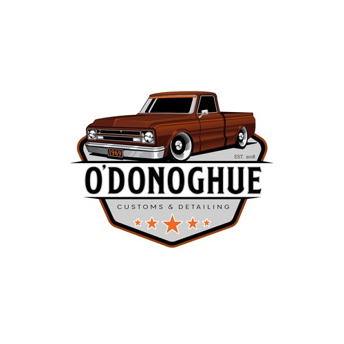 logo concept for O'donoghue customs and detailing