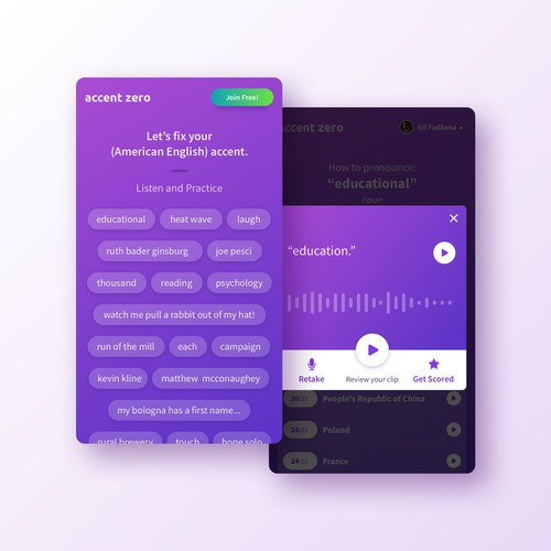 Language learning app concept