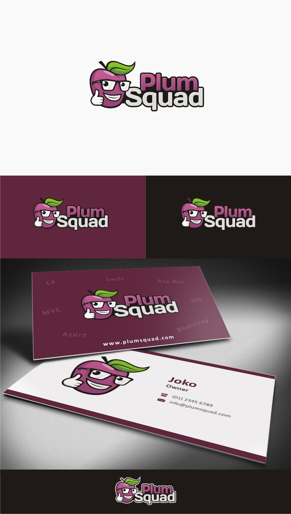 Create a logo for a web development startup that is Plum good.