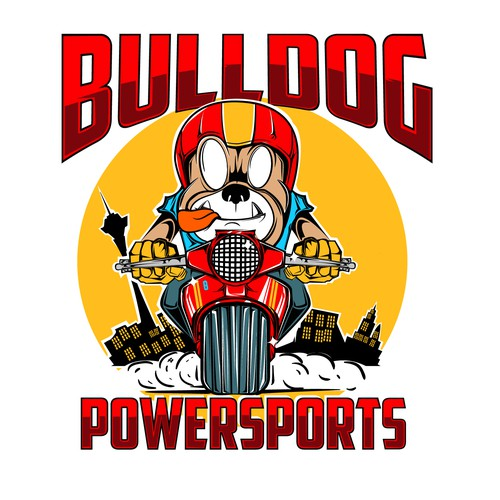 Bulldog bike shop illustration logo