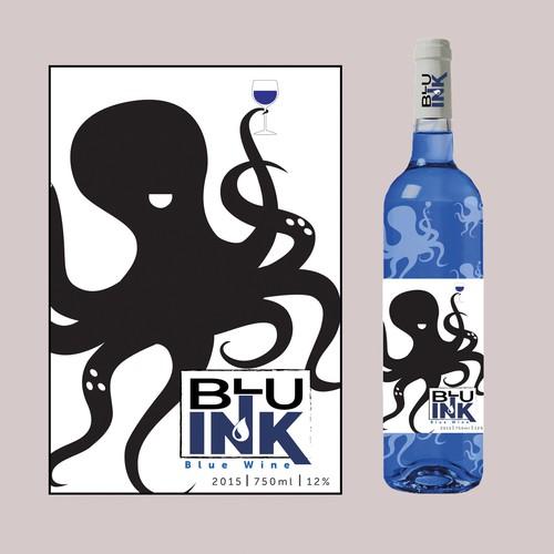 Blue Wine Label