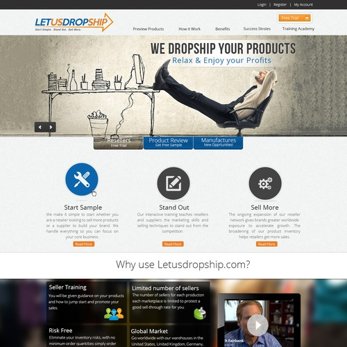 Letusdropship.com a new website design (detailed Guidelines) and guaranteed awards