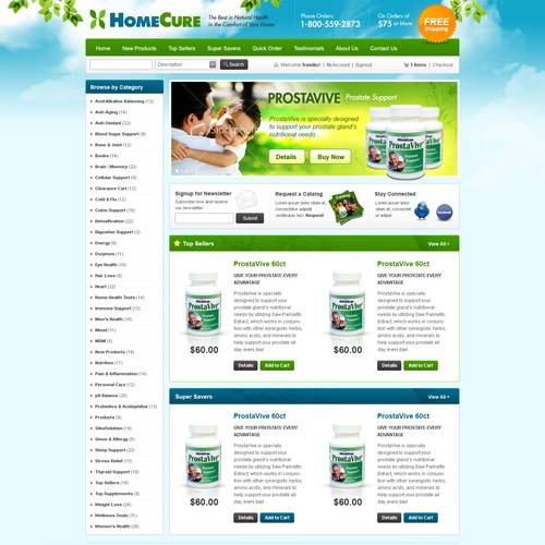 DESIGN New Homepage for Natural Supplement E-commerce Website