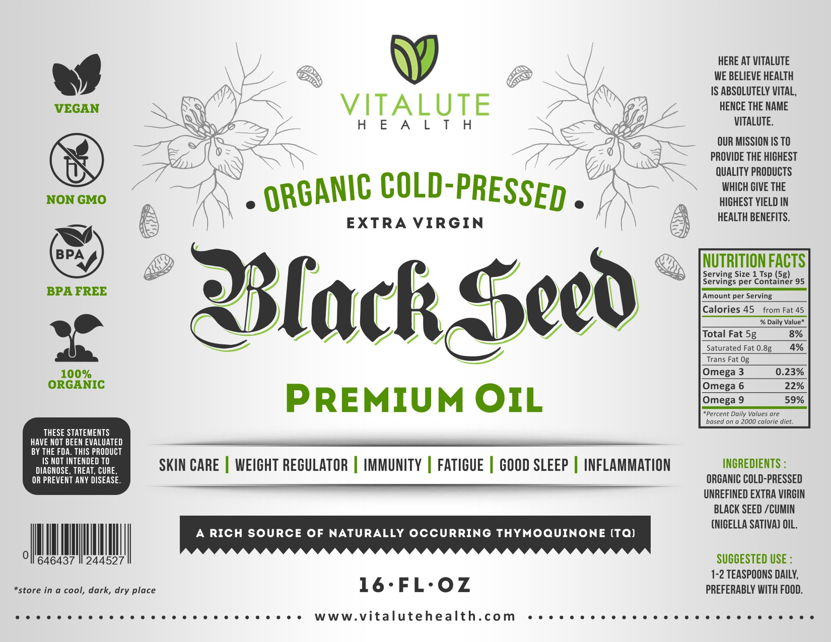 Eye catching & sophisticated label design for our 'Black Seed Oil' product.