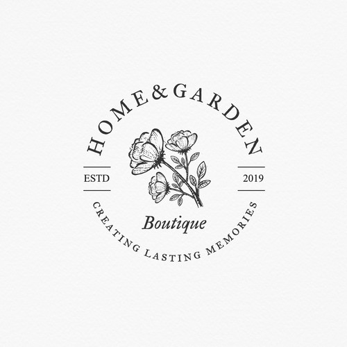 Logo for gift and flower shop: Home & Garden boutique