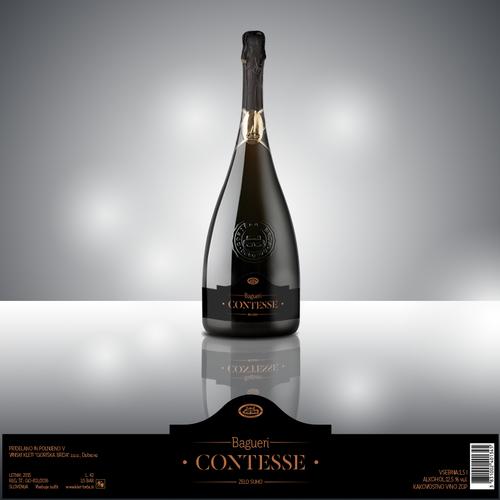 Simple and elegant wine bottle label