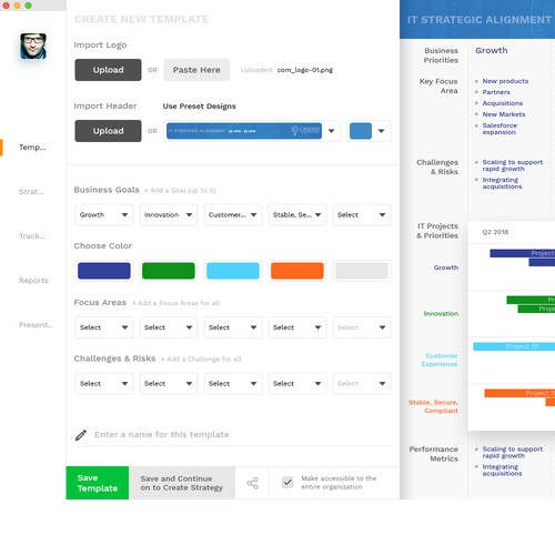 Create a sharp, simple UI design for an awesome new business strategy tool.