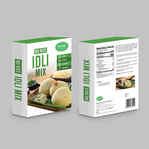 Clean/Minimalist Packaging for Diet Delight's No Rice Idli Mix