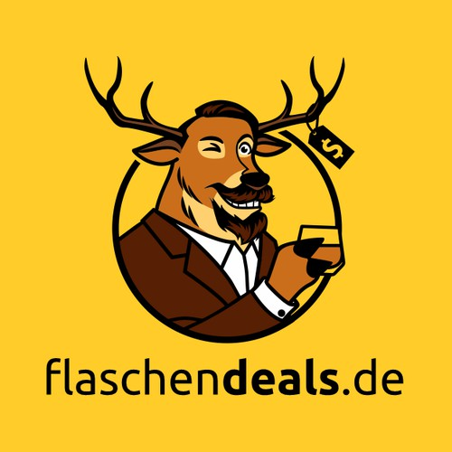 Logo with a mascot for a website showing deals for whisky + rum