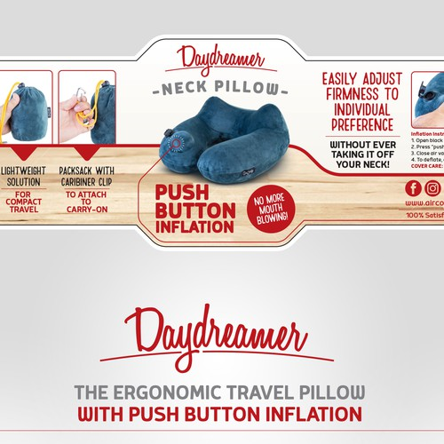 Wrap around label design for a travel pillow
