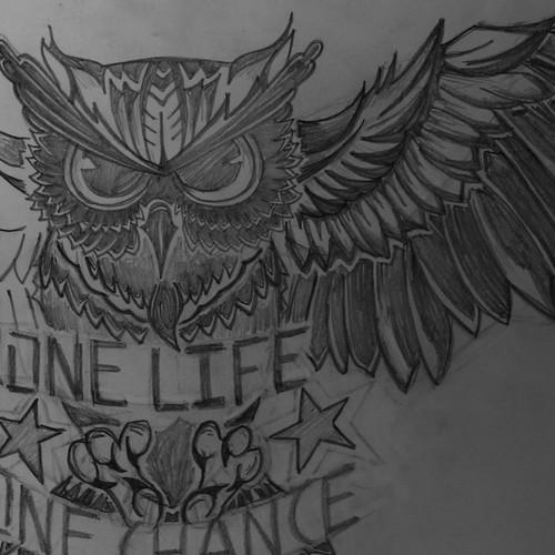 Tattoo chest (black & grey) OWL