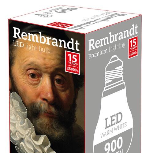 Design high end LED light bulb packaging for Rembrandt Premium Lighting