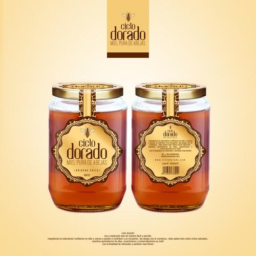 crea logo y etiqueta con estylo sicodelico nueva marca de miel