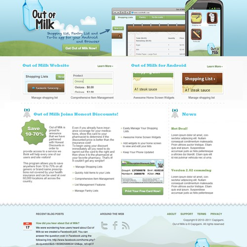 Out of Milk: Homepage Re-Design