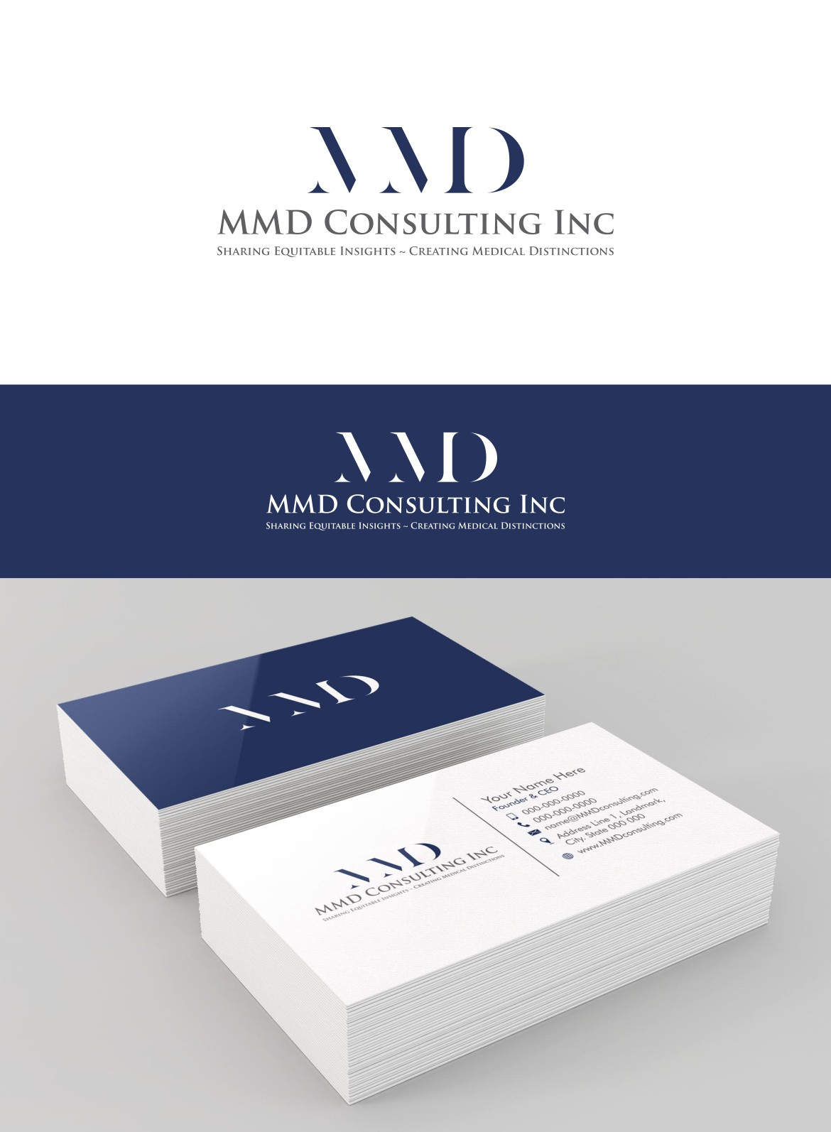 Create the next logo and business card for MMD Consulting Inc