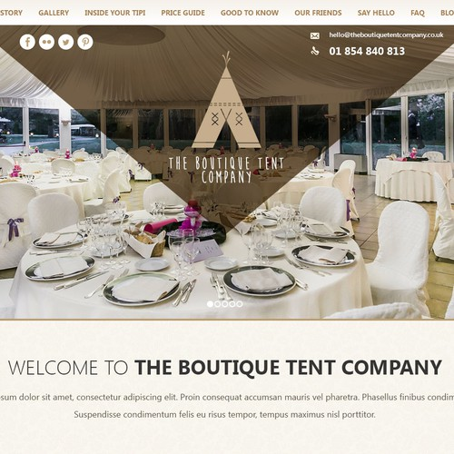 Informational website for an event organizing company