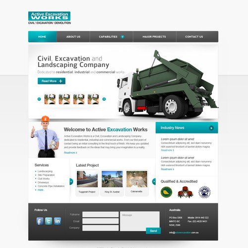 1 PAGE WEBSITE DESIGN for excavation & landscaping company