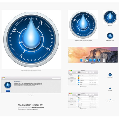 Icon representing drops, time and direction for a communications app