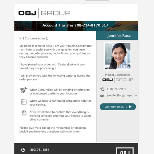OBJ Group - Email Template Design Request