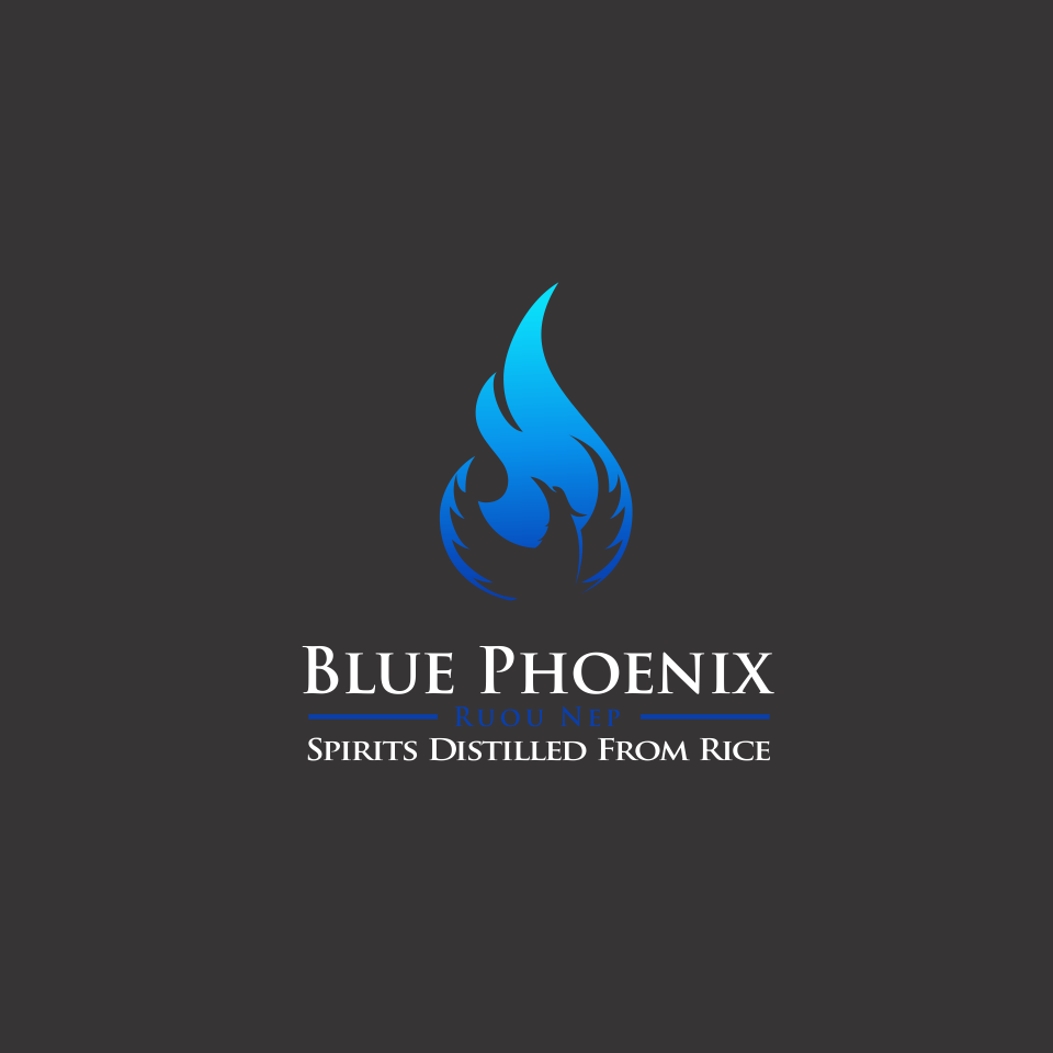 Blue Phoenix liquor bottle label