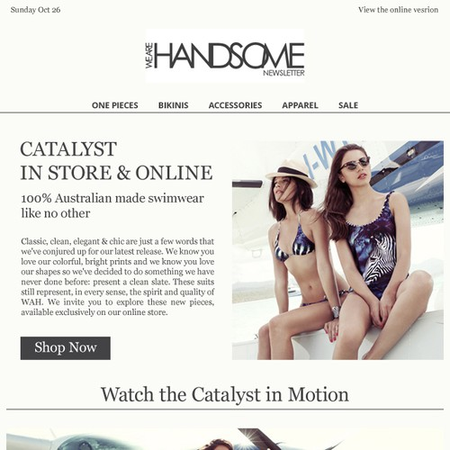 Luxury fashion email newsletter design
