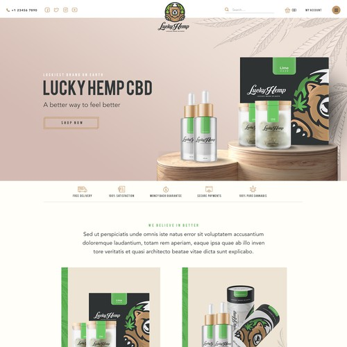 Landing page design for CBD oil products