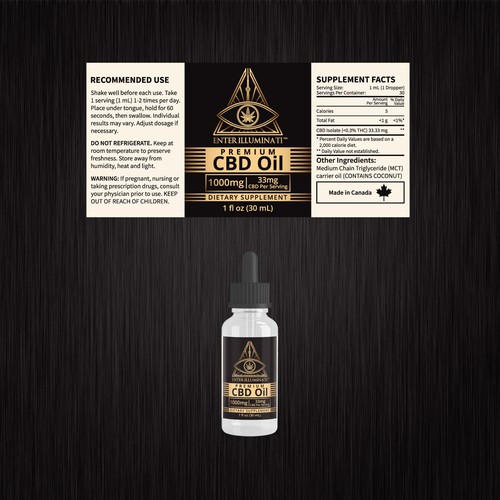 Enter Illuminati CBD Oil label