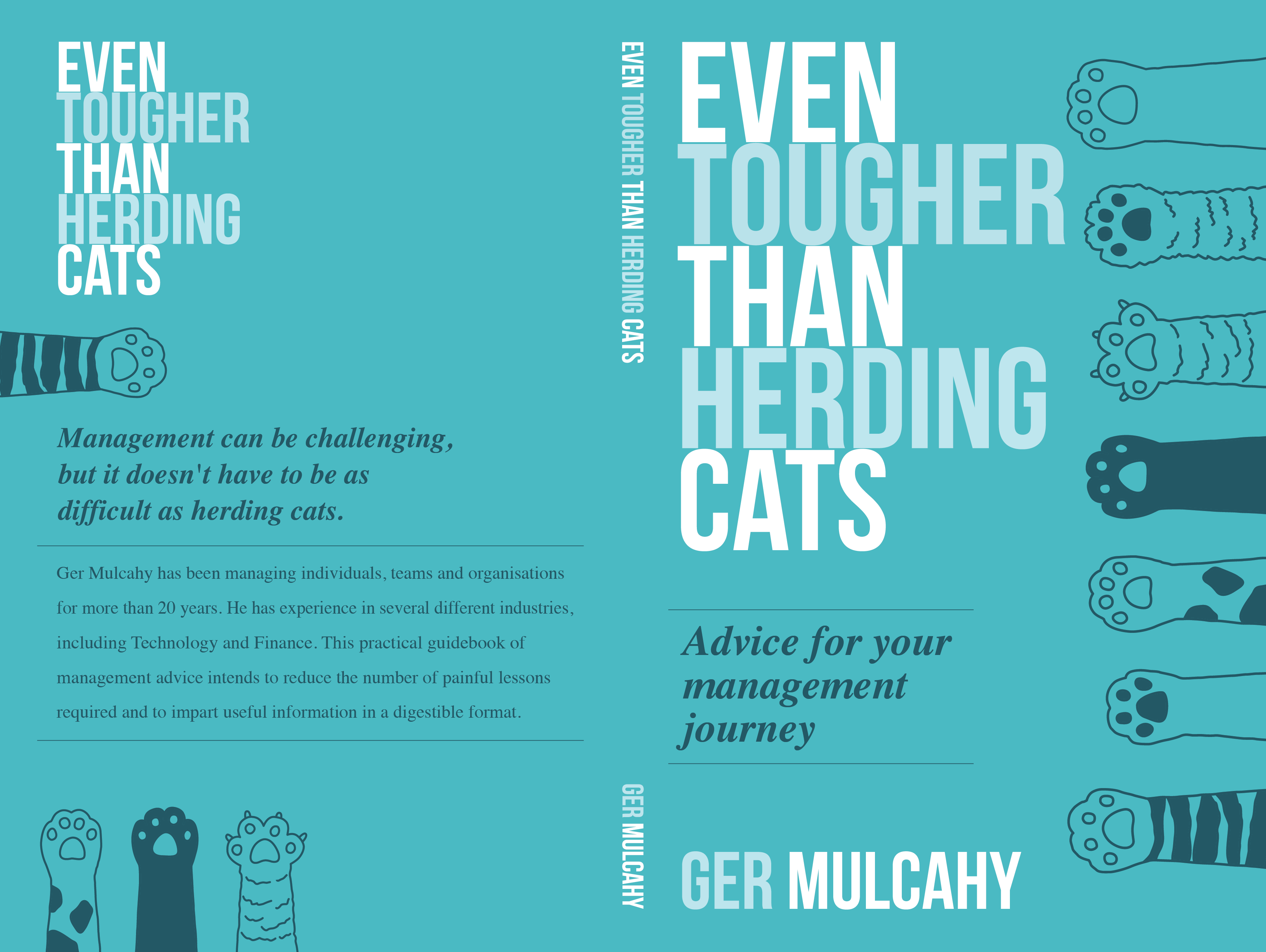 Bright cover design for a conversational book of management advice
