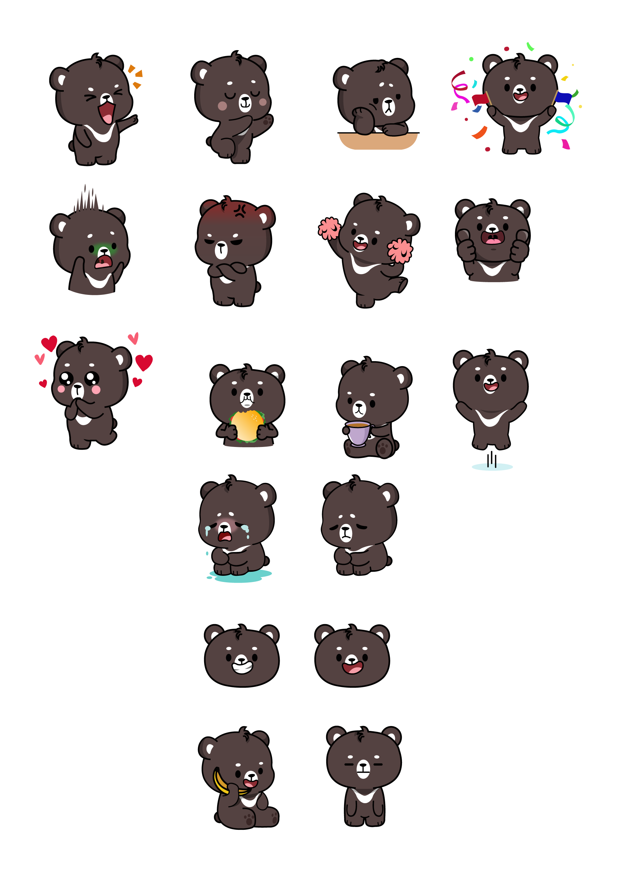 Cute Funny Lovable Bear Character (12 Sticker Pack)