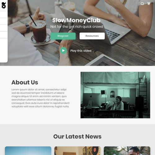 Web page concept for SlowMoneyClub