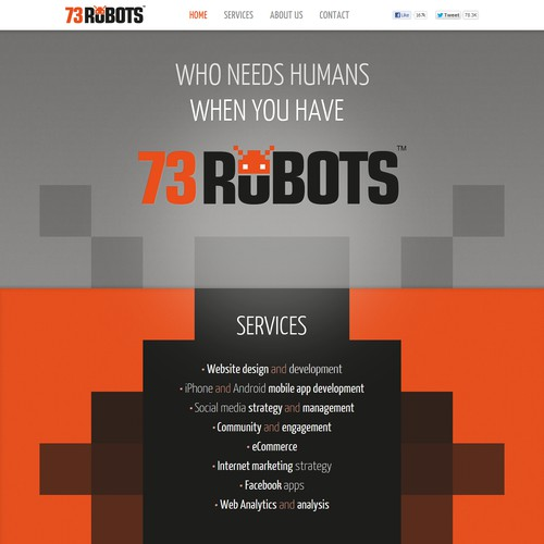Create the next website design for 73robots