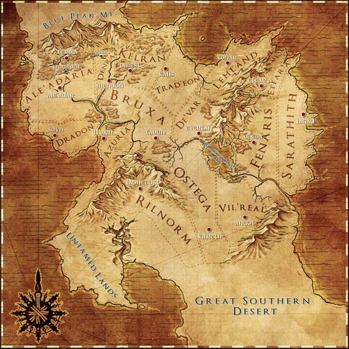 Fantasy Map for Death Mage's Ascent Sequel