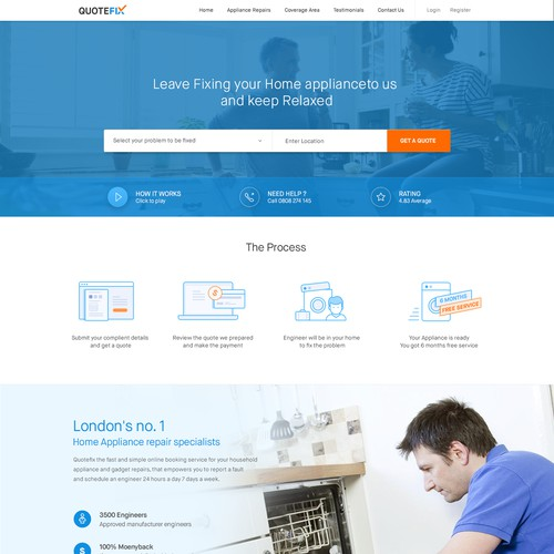 Home appliances repair online services landing page