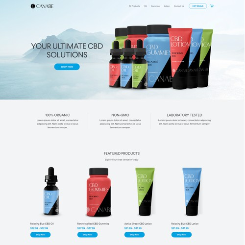 Retail Website Design for CBD Products.