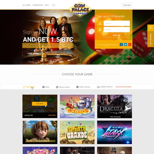 Home page design for Casino game