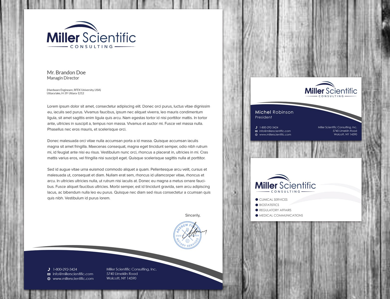 Help Miller Scientific Consulting design a business card